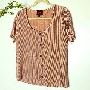 W5 Striped Rust Orange White Button Top